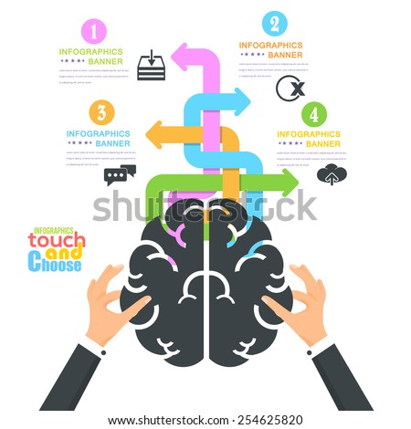 Flat Hands hold Brain Symbol, Infographics Template - Business, Marketing Touch and Choose Concept Vector Design - stock vector