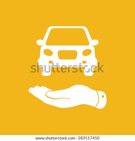 flat hands showing white car icon - vector illustration - stock vector