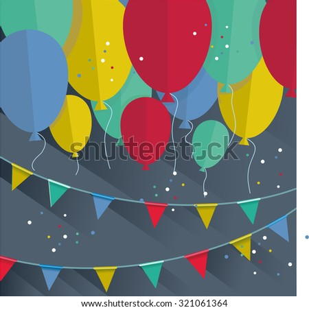 Flat happy Birthday festive background with confetti,ballons and flags. - stock vector