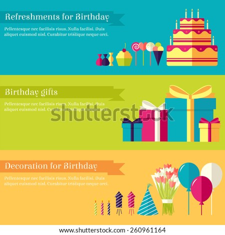 Flat happy Birthday festive background with confetti icons set. Party and celebration elements: balloons, confetti,  drinks, concept. Illustration template for your design, web and mobile applications. - stock vector