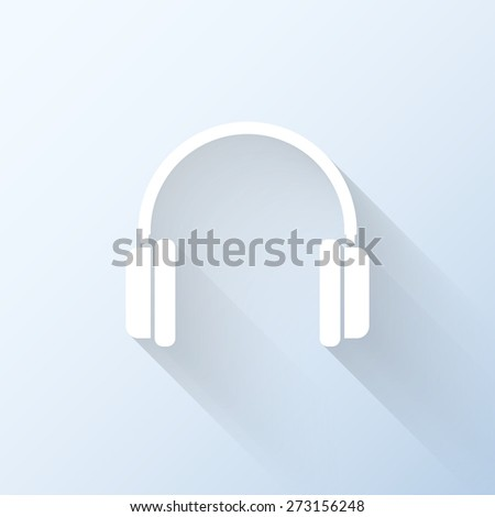 Flat headphones icon with long shadow. Vector illustration - stock vector