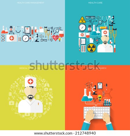 Flat health care and medical research background. Healthcare system concept. Medicine and chemical engineering.  First aid and diagnostic equipment. - stock vector