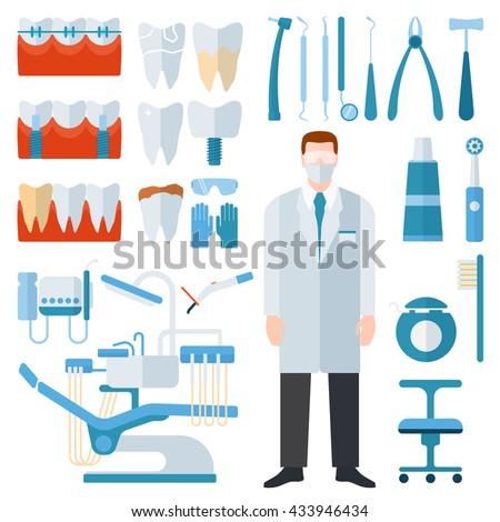 Flat health care dentist symbols and medical research dentist symbols medical care. Healthcare system dentist symbols concept. Medicine dentist symbols and chemical engineering dentist symbols. - stock vector