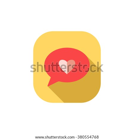 Flat heart icon.Vector - stock vector