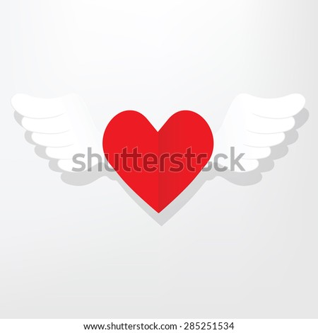 flat heart with wings - stock vector