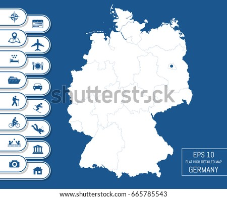 flat high detailed germany map divided into editable contours of administrative divisions vacation and