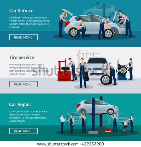 Flat horizontal banners with scenes presents workers in car service tire service and car repair vector illustration - stock vector