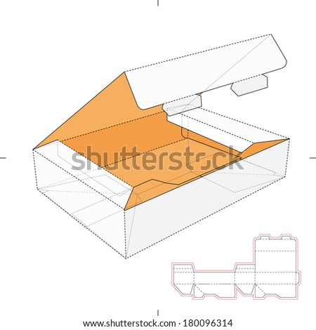 Flat Horizontal Boxes with Die-Cut Pattern - stock vector