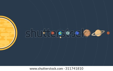 Flat, horizontal illustration of our Solar system, with all eight planets Earth Moon and orbits. - stock vector