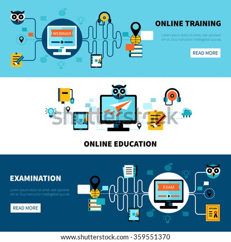 Flat horizontal online education banners collection of distance learning and examination vector illustration - stock vector