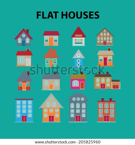 flat houses, buildings icons, signs, symbols set, vector - stock vector