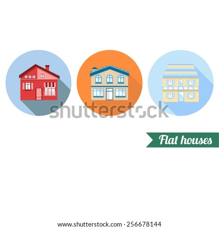 Flat houses icons - stock vector