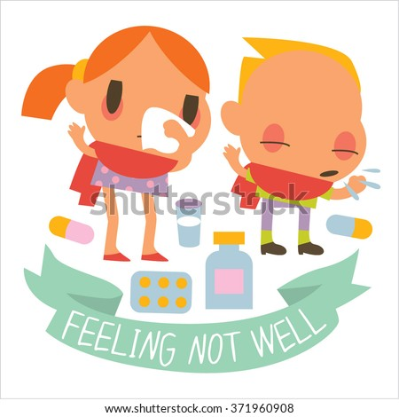 Flat human disease kids. Funny cute personages suitable for apps illustrations, card, sticker, banner, package designs. Colorful logos or icons around. - stock vector