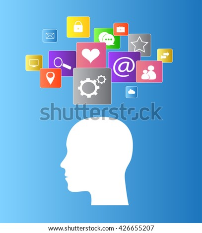 Flat human head vector with social media icons,