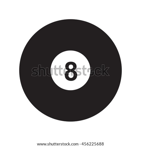 Flat icon 8-ball pool isolated on white background. Billiard ball. Vector illustration. - stock vector