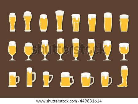 Flat icon beer with foam in beer mugs and glasses