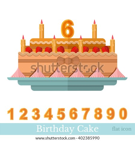 Flat icon birthday cake with candle and numbers on white - stock vector