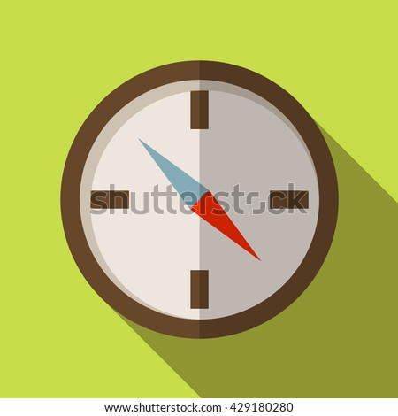 Flat icon camping equipment set illustration of compass