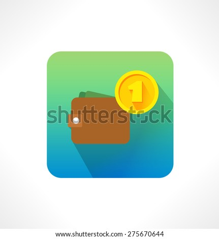 Flat icon. Cash in wallet and Coin. - stock vector