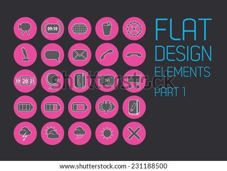 Flat icon design template - Vector Illustration  - stock vector