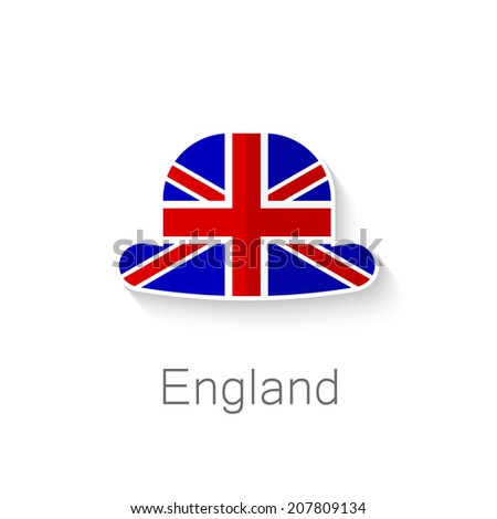 Flat icon - English hat - a hat in the color of the flag of Britain. - stock vector