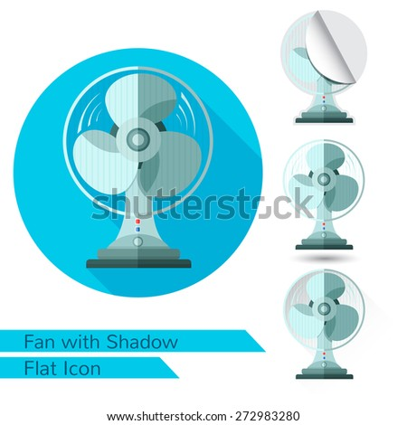 flat icon fan or ventilator on white with oval long shadow and folded corner - stock vector