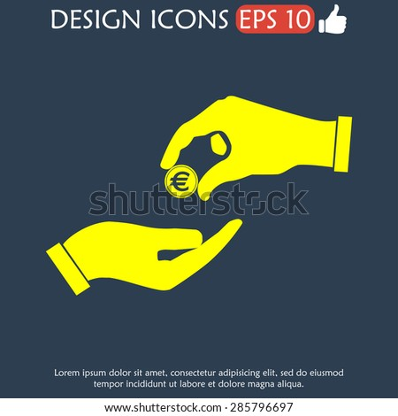 Flat icon, give alms,  Illustration EPS 10