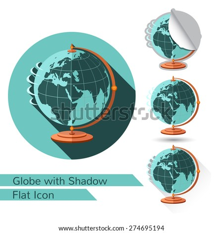flat icon globe on stand isolated on white with oval long shadow and folded corner