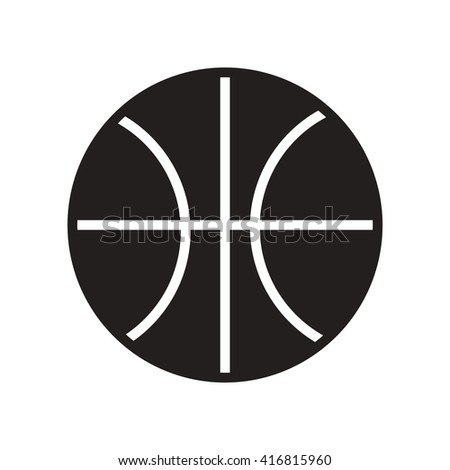 flat icon in black and white  style Basketball ball   - stock vector