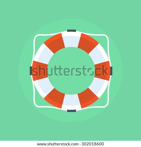 Flat icon lifebuoy.  Lifebuoy on a light background. Vector life ring. Isolation life preserver. - stock vector