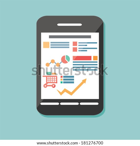 Flat icon mobile cellular phone, electronic device, responsive web design, infographic elements, vector illustration - stock vector