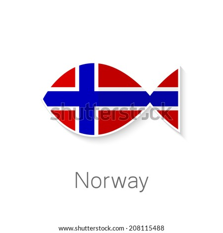 Flat icon - Norway fish - fish shape in the color of the flag of Norway. - stock vector