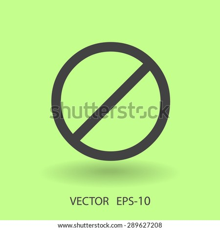 Flat icon of a prohibition - stock vector
