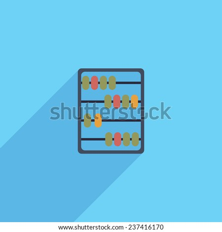Flat Icon of abacus. Isolated on stylish color background. Elements with a long shadow.Icons in flat design.Flat design style modern vector illustration - stock vector