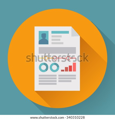 Flat icon of business concept cv resume. - stock vector