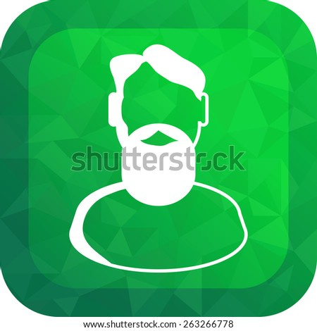 Flat Icon of bust of a man. Image isolated on stylish green background. Modern vector illustration for web and mobile.