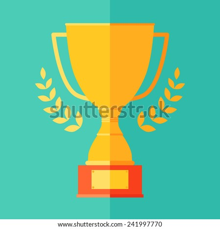 Flat icon of champion (trophy) cup, victory, success concept (win, leadership) vector illustration in trendy colors - stock vector