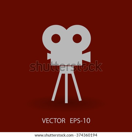 Flat icon of cinema - stock vector