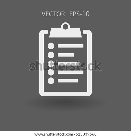 Flat icon of clipboard. vector illustration