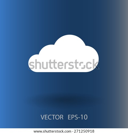 Flat  icon of cloud - stock vector