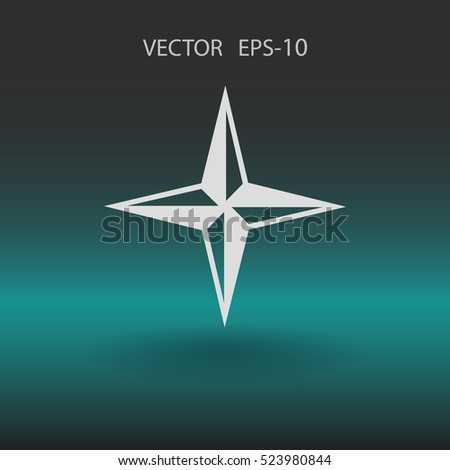 Flat icon of compass. vector illustration