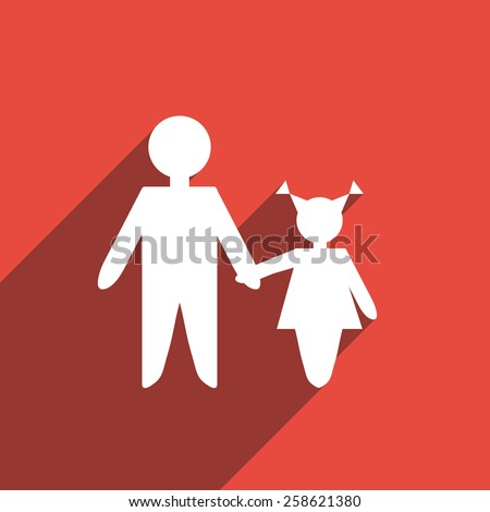 Flat Icon of family. Isolated on stylish color background. Element with a long shadow. Modern vector illustration  for web and mobile.