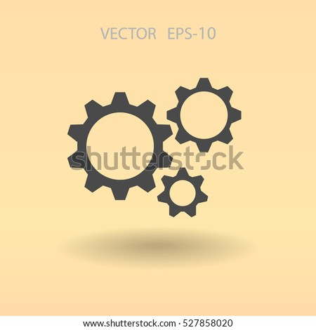 Flat icon of gears. vector illustration