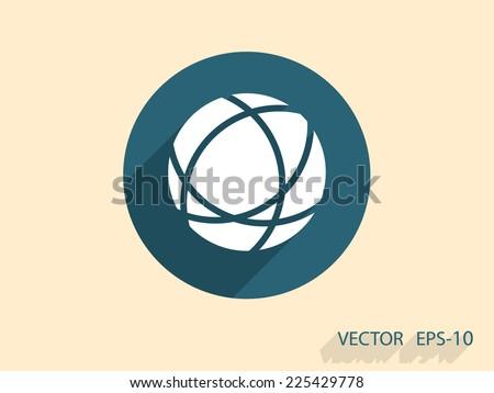 Flat icon of globe - stock vector