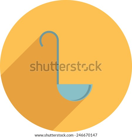 Flat Icon of kitchen ladles a yellow background