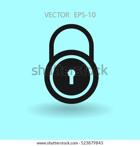 Flat icon of lock. vector illustration