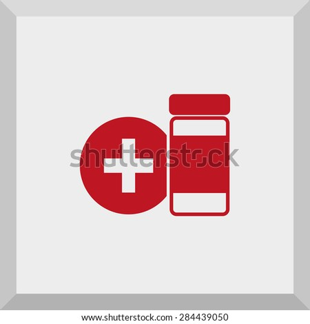Flat Icon of medical symbol. Isolated on gray background. Modern vector illustration for web and mobile. - stock vector