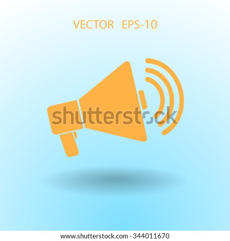 Flat icon of megaphone - stock vector