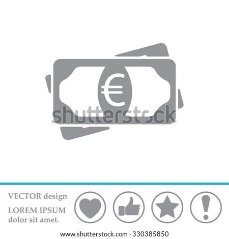 Flat icon of money (euro) vector icon - stock vector