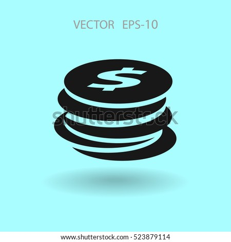 Flat icon of money. vector illustration